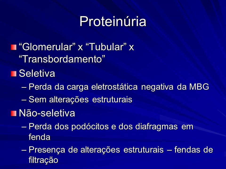 Proteinúria Glomerular x Tubular x Transbordamento Seletiva –Perda da carga eletrostática negativa da MBG –Sem alterações estruturais Não-seletiva –Pe