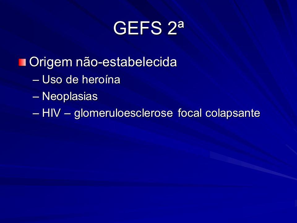 GEFS 2ª Origem não-estabelecida –Uso de heroína –Neoplasias –HIV – glomeruloesclerose focal colapsante