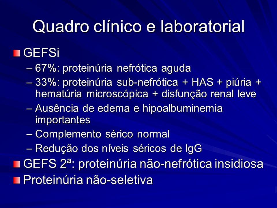 Quadro clínico e laboratorial GEFSi –67%: proteinúria nefrótica aguda –33%: proteinúria sub-nefrótica + HAS + piúria + hematúria microscópica + disfun