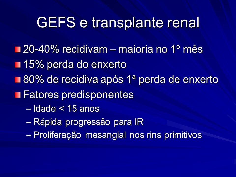 GEFS e transplante renal 20-40% recidivam – maioria no 1º mês 15% perda do enxerto 80% de recidiva após 1ª perda de enxerto Fatores predisponentes –Id