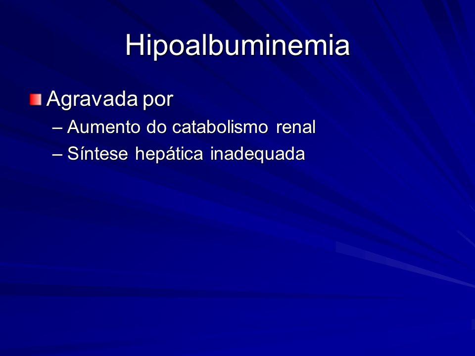 Hipoalbuminemia Agravada por –Aumento do catabolismo renal –Síntese hepática inadequada