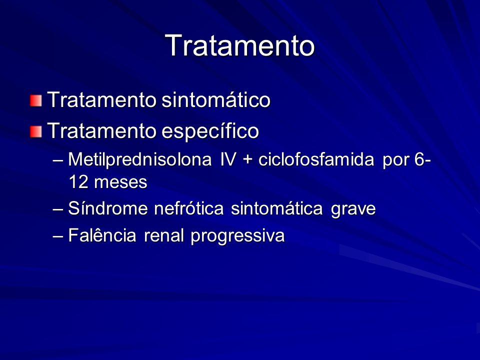 Tratamento Tratamento sintomático Tratamento específico –Metilprednisolona IV + ciclofosfamida por 6- 12 meses –Síndrome nefrótica sintomática grave –