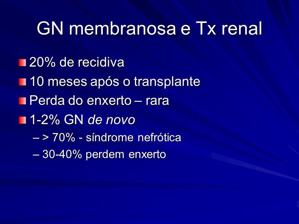 GN membranosa e Tx renal 20% de recidiva 10 meses após o transplante Perda do enxerto – rara 1-2% GN de novo –> 70% - síndrome nefrótica –30-40% perde