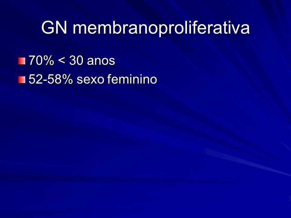 GN membranoproliferativa 70% < 30 anos 52-58% sexo feminino