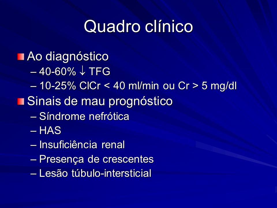 Quadro clínico Ao diagnóstico –40-60% TFG –10-25% ClCr 5 mg/dl Sinais de mau prognóstico –Síndrome nefrótica –HAS –Insuficiência renal –Presença de cr