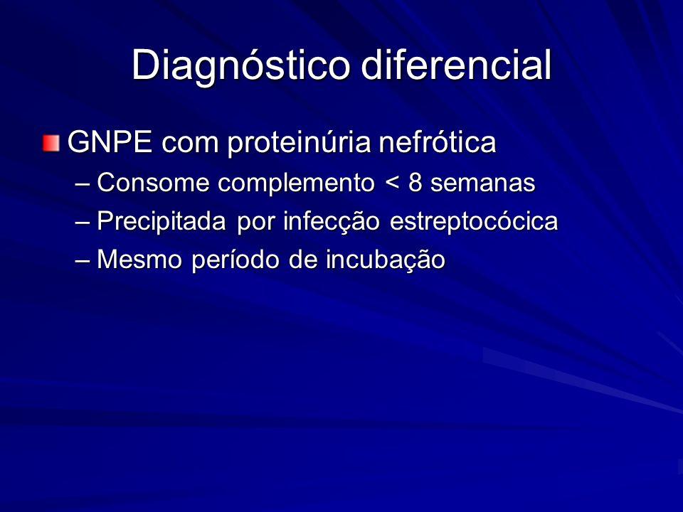 Diagnóstico diferencial GNPE com proteinúria nefrótica –Consome complemento < 8 semanas –Precipitada por infecção estreptocócica –Mesmo período de inc
