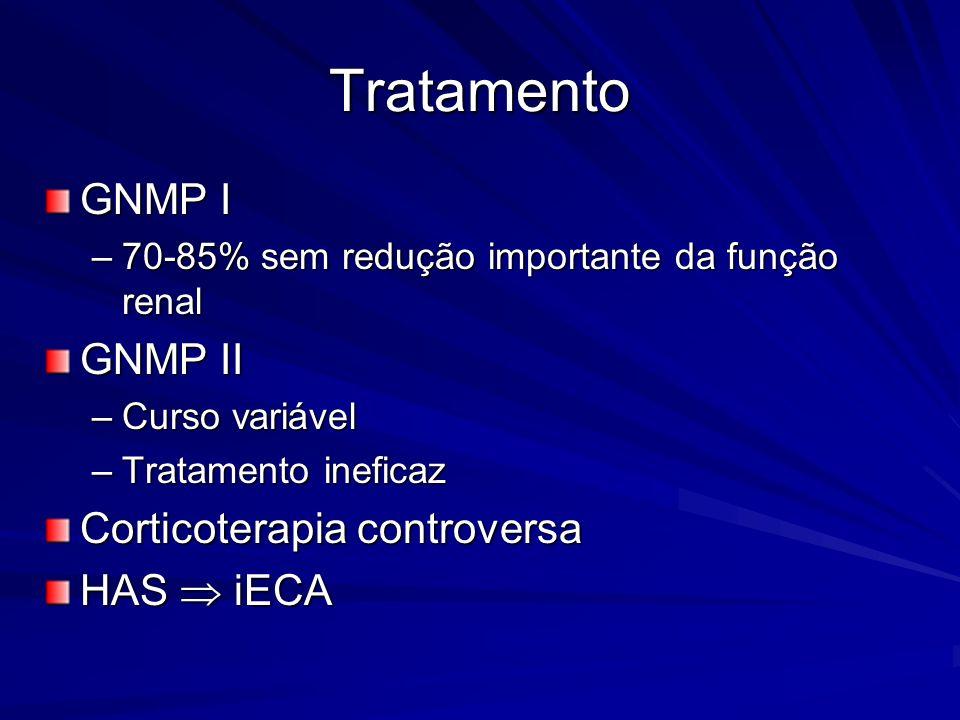 Tratamento GNMP I –70-85% sem redução importante da função renal GNMP II –Curso variável –Tratamento ineficaz Corticoterapia controversa HAS iECA