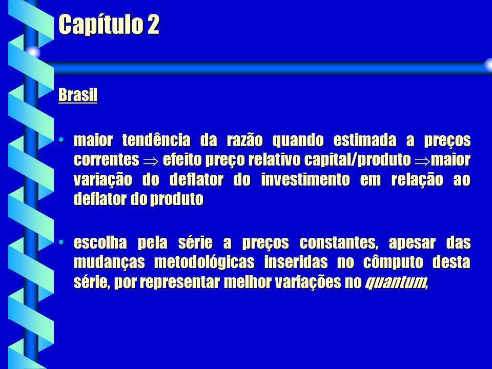 Capítulo 2 Brasil maior tendência da razão quando estimada a preços correntes efeito preço relativo capital/produto maior variação do deflator do inve