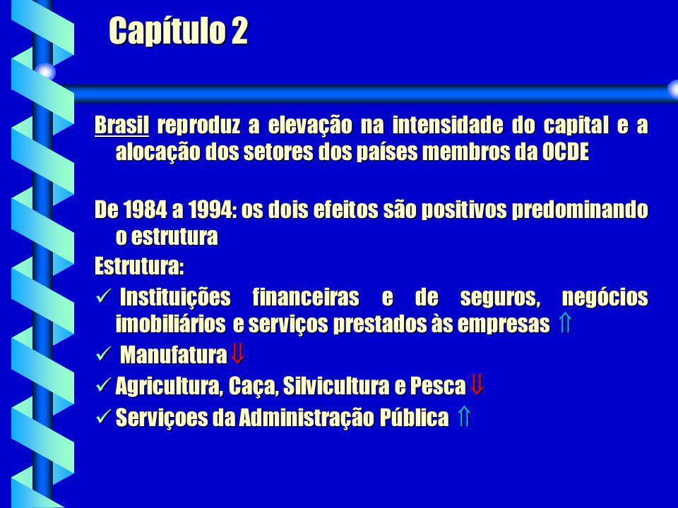 Brasil reproduz a elevação na intensidade do capital e a alocação dos setores dos países membros da OCDE Estrutura: Instituições financeiras e de segu