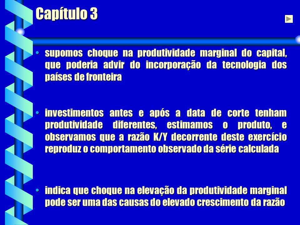 Capítulo 3 supomos choque na produtividade marginal do capital, que poderia advir do incorporação da tecnologia dos países de fronteirasupomos choque