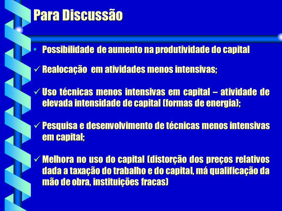 Para Discussão Realocação em atividades menos intensivas; Realocação em atividades menos intensivas; Uso técnicas menos intensivas em capital – ativid