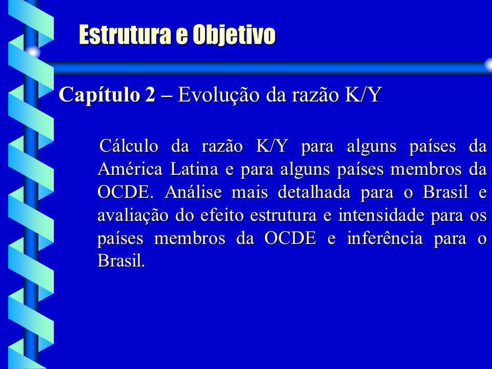 Capítulo 2 – Evolução da razão K/Y Cálculo da razão K/Y para alguns países da América Latina e para alguns países membros da OCDE. Análise mais detalh