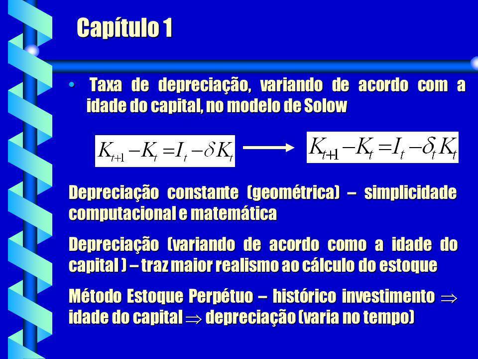 Capítulo 1 Taxa de depreciação, variando de acordo com a idade do capital, no modelo de Solow Taxa de depreciação, variando de acordo com a idade do c