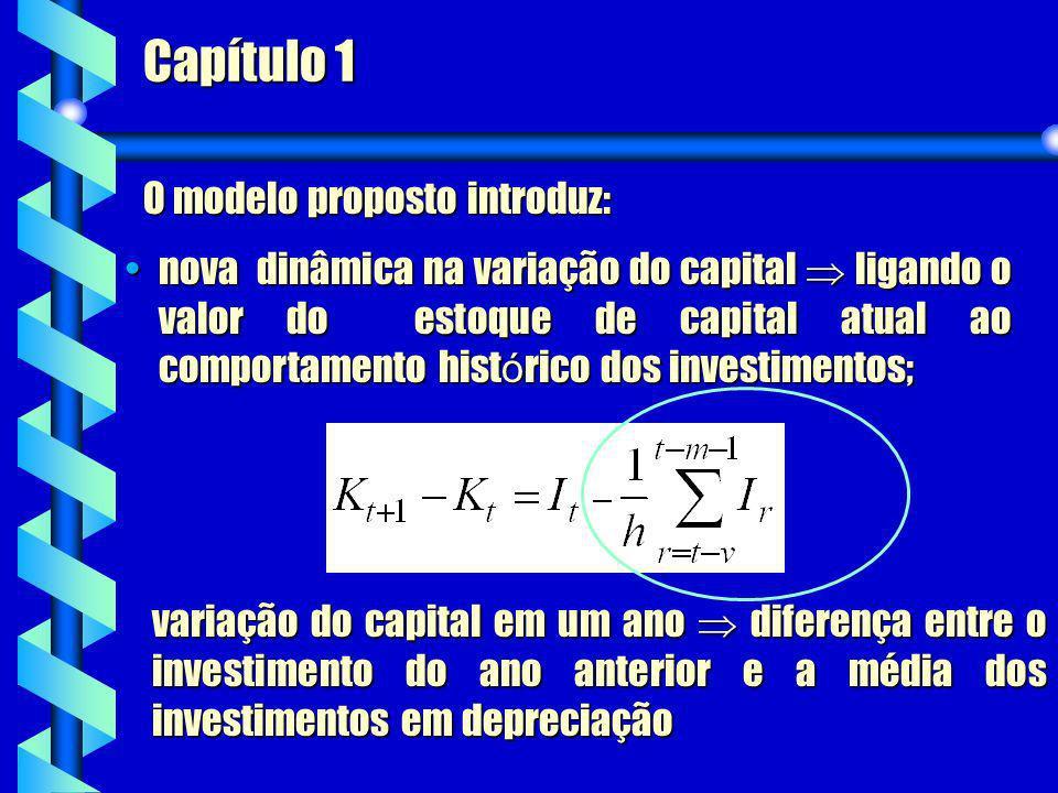 Capítulo 1 variação do capital em um ano diferença entre o investimento do ano anterior e a média dos investimentos em depreciação O modelo proposto i