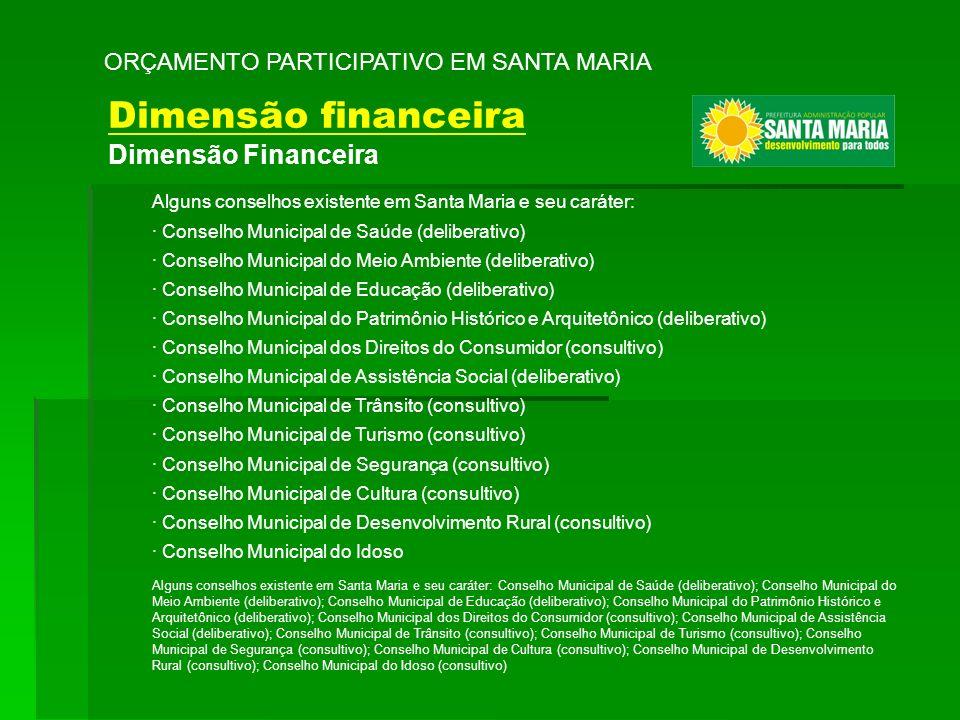 ORÇAMENTO PARTICIPATIVO EM SANTA MARIA Alguns conselhos existente em Santa Maria e seu caráter: Conselho Municipal de Saúde (deliberativo); Conselho M