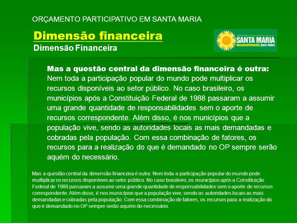 ORÇAMENTO PARTICIPATIVO EM SANTA MARIA Mas a questão central da dimensão financeira é outra: Nem toda a participação popular do mundo pode multiplicar