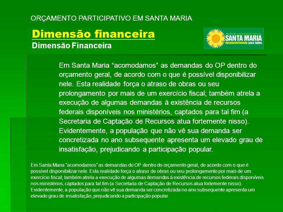 Em Santa Maria acomodamos as demandas do OP dentro do orçamento geral, de acordo com o que é possível disponibilizar nele. Esta realidade força o atra
