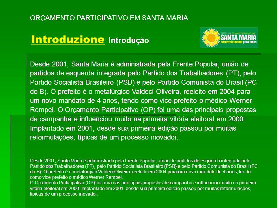 Desde 2001, Santa Maria é administrada pela Frente Popular, união de partidos de esquerda integrada pelo Partido dos Trabalhadores (PT), pelo Partido