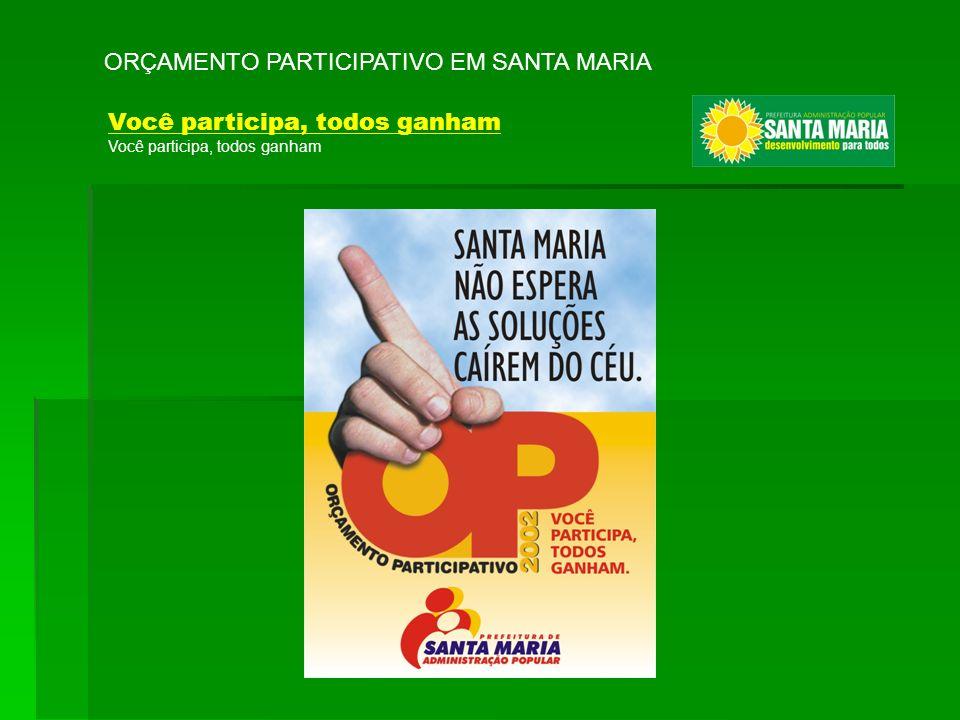 ORÇAMENTO PARTICIPATIVO EM SANTA MARIA Você participa, todos ganham