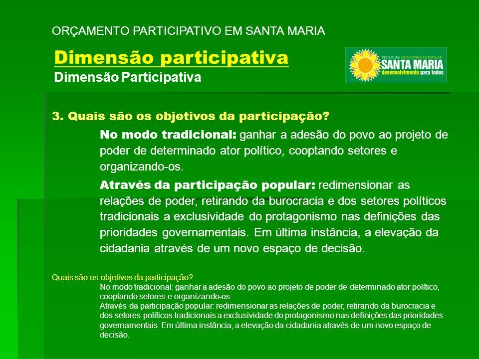 3. Quais são os objetivos da participação? No modo tradicional: ganhar a adesão do povo ao projeto de poder de determinado ator político, cooptando se