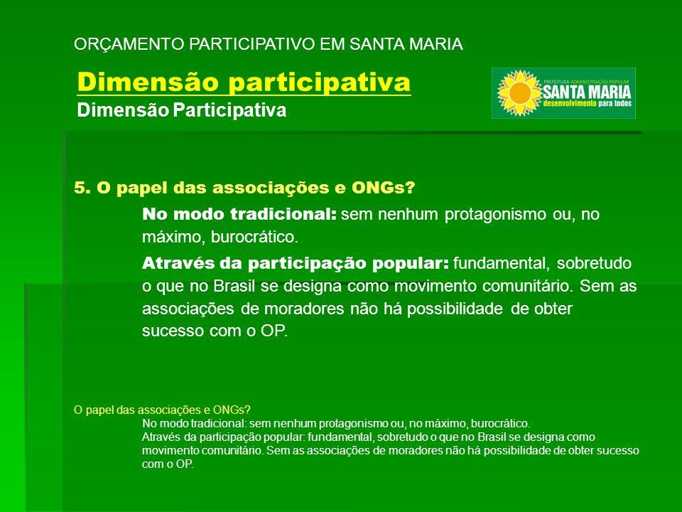 5. O papel das associações e ONGs? No modo tradicional: sem nenhum protagonismo ou, no máximo, burocrático. Através da participação popular: fundament