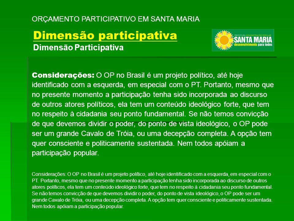 Considerações: O OP no Brasil é um projeto político, até hoje identificado com a esquerda, em especial com o PT. Portanto, mesmo que no presente momen