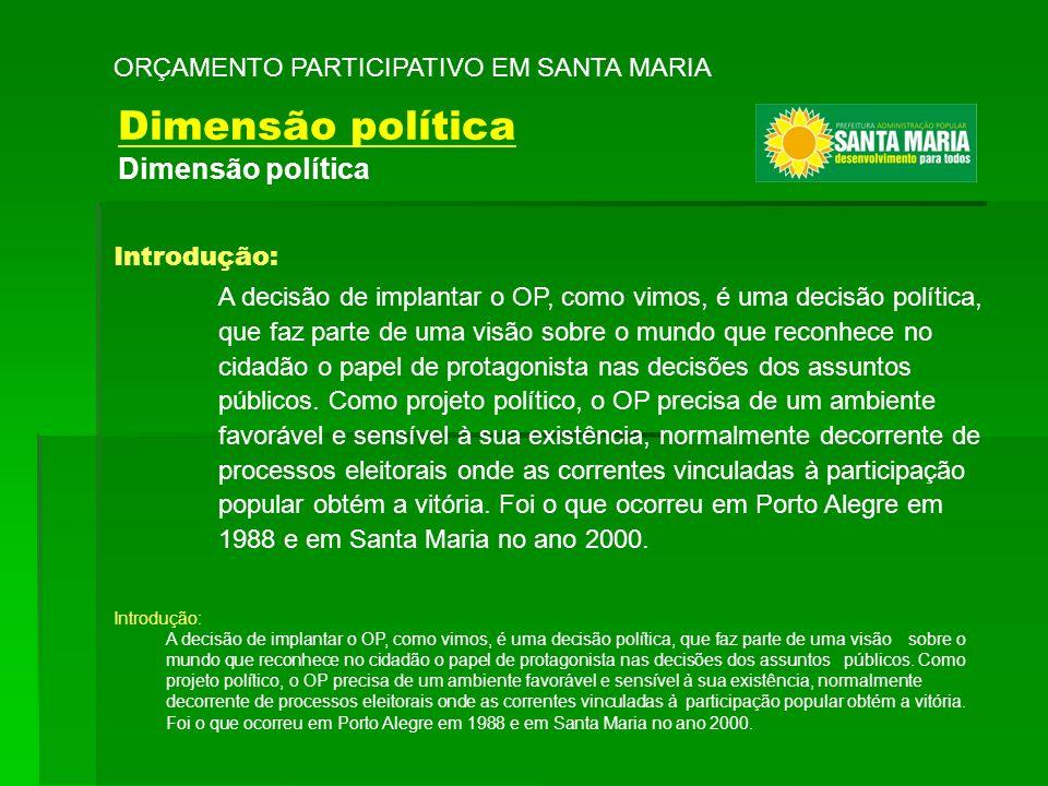 Introdução: A decisão de implantar o OP, como vimos, é uma decisão política, que faz parte de uma visão sobre o mundo que reconhece no cidadão o papel