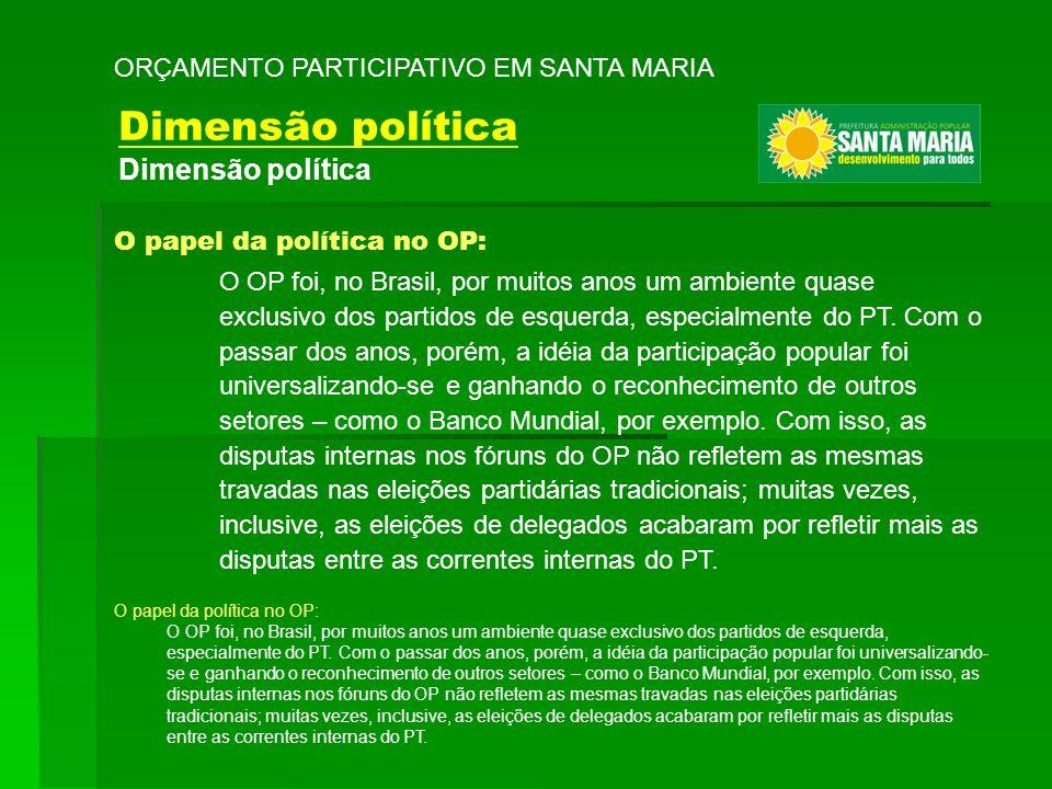 O papel da política no OP: O OP foi, no Brasil, por muitos anos um ambiente quase exclusivo dos partidos de esquerda, especialmente do PT. Com o passa