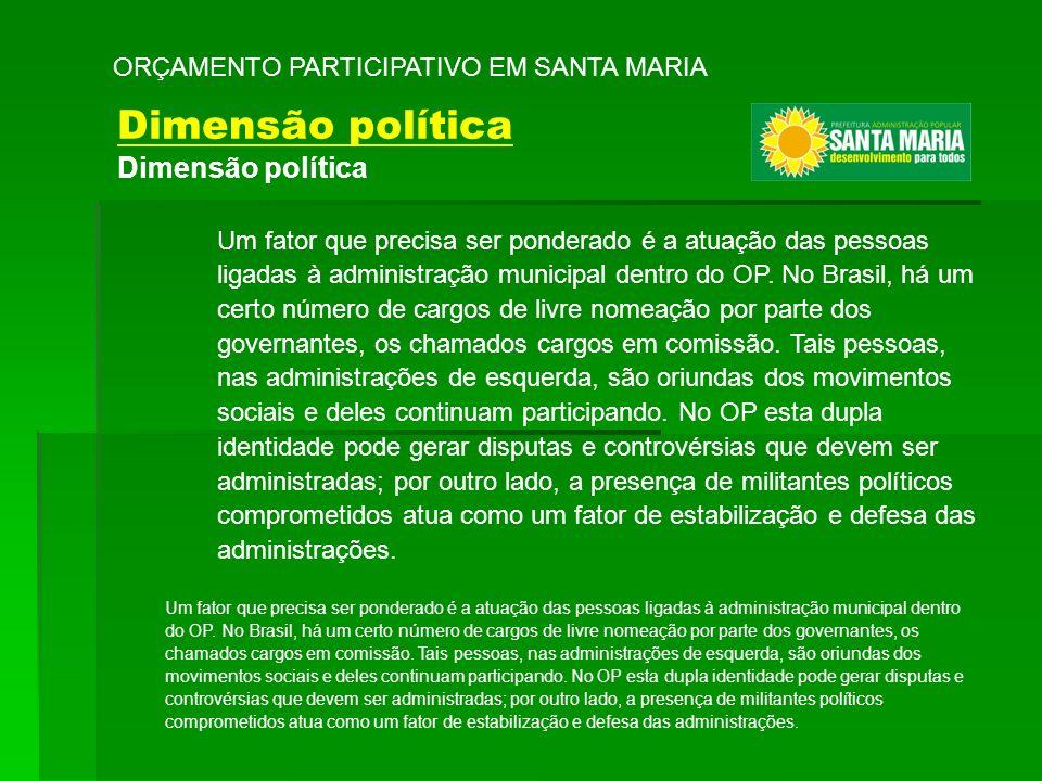Um fator que precisa ser ponderado é a atuação das pessoas ligadas à administração municipal dentro do OP. No Brasil, há um certo número de cargos de