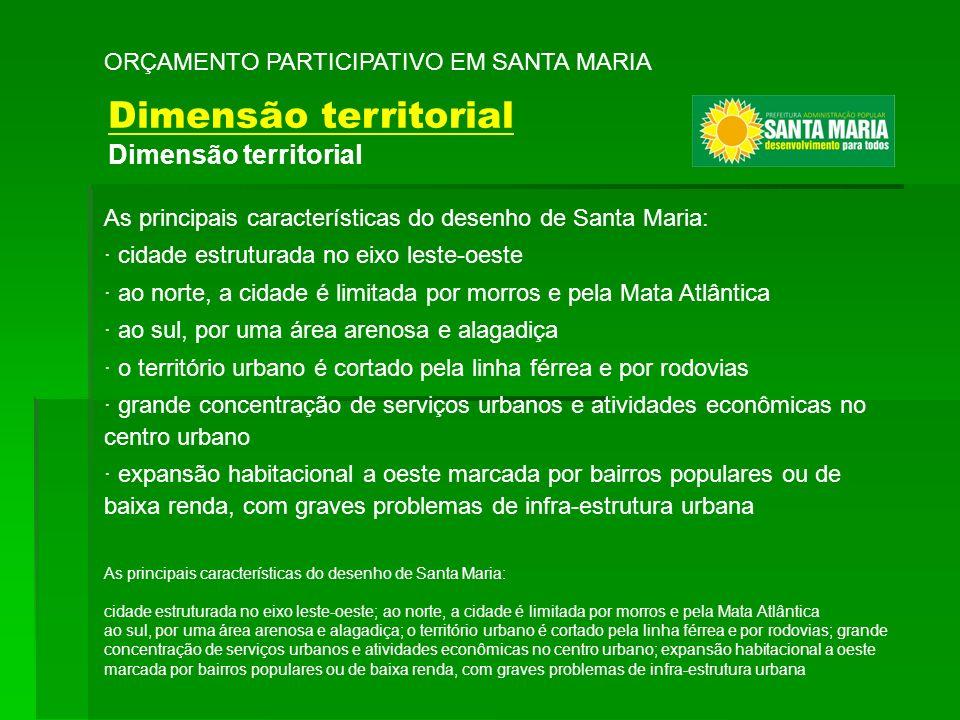 As principais características do desenho de Santa Maria: · cidade estruturada no eixo leste-oeste · ao norte, a cidade é limitada por morros e pela Ma