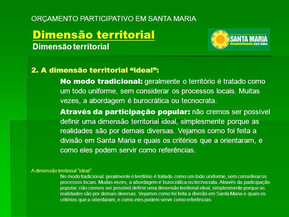 2. A dimensão territorial ideal: No modo tradicional: geralmente o território é tratado como um todo uniforme, sem considerar os processos locais. Mui