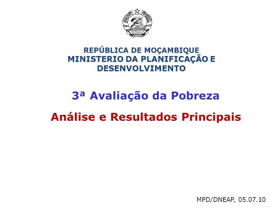 3ª Avaliação da Pobreza Análise e Resultados Principais MPD/DNEAP, 05.07.10 REPÚBLICA DE MOÇAMBIQUE MINISTERIO DA PLANIFICAÇÃO E DESENVOLVIMENTO