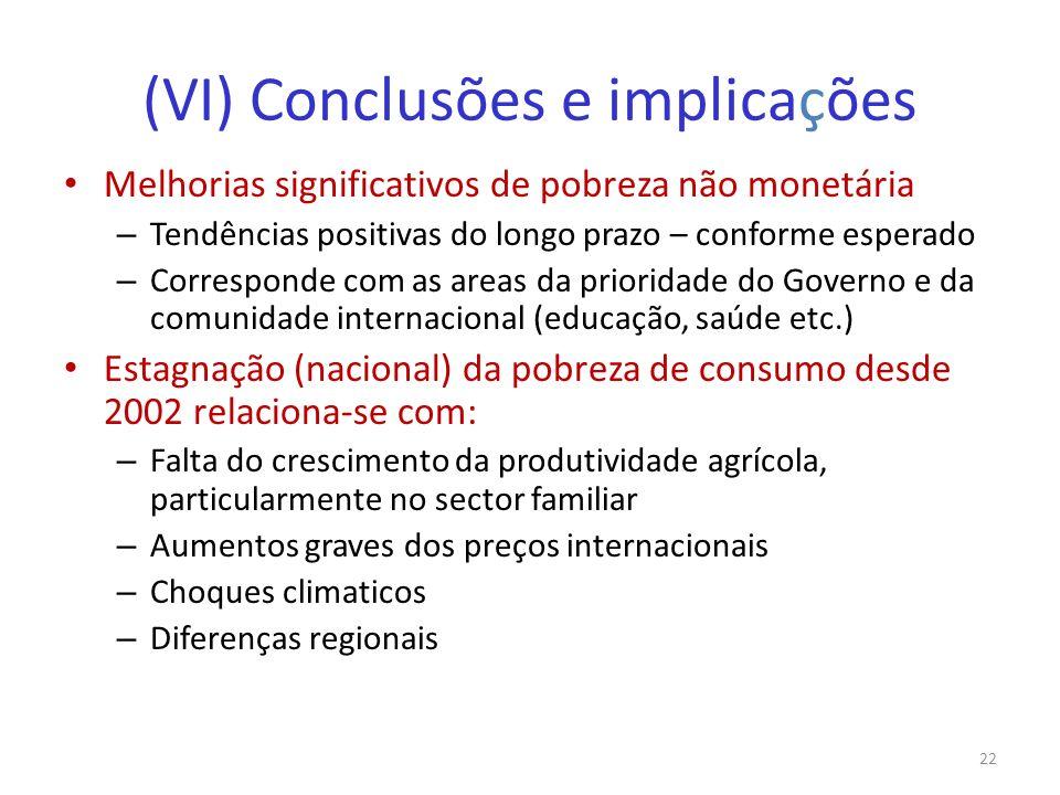 (VI) Conclusões e implicações Melhorias significativos de pobreza não monetária – Tendências positivas do longo prazo – conforme esperado – Correspond