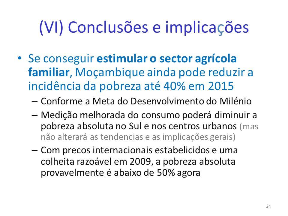 (VI) Conclusões e implicações Se conseguir estimular o sector agrícola familiar, Moçambique ainda pode reduzir a incidência da pobreza até 40% em 2015
