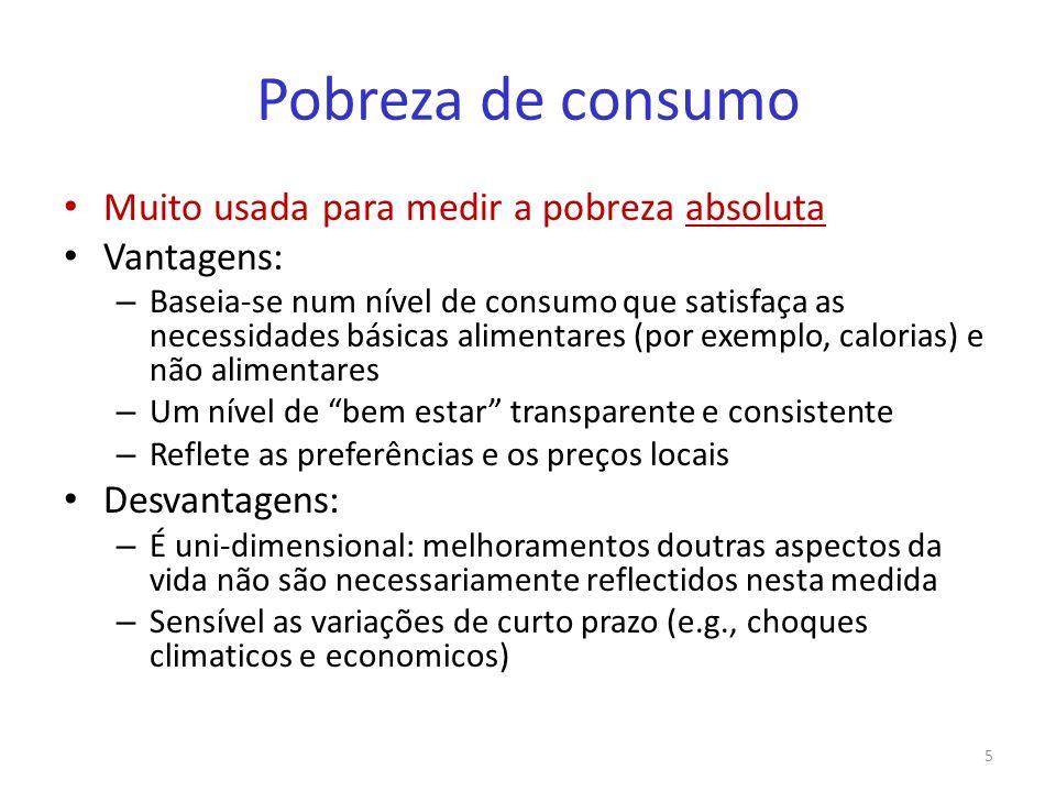 Pobreza de consumo Muito usada para medir a pobreza absoluta Vantagens: – Baseia-se num nível de consumo que satisfaça as necessidades básicas aliment