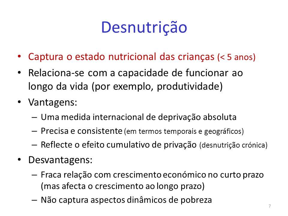 Desnutrição Captura o estado nutricional das crianças (< 5 anos) Relaciona-se com a capacidade de funcionar ao longo da vida (por exemplo, produtivida