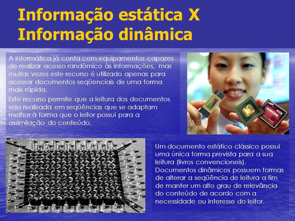 Informação estática X Informação dinâmica A informática já conta com equipamentos capazes de realizar acesso randômico às informações, mas muitas veze