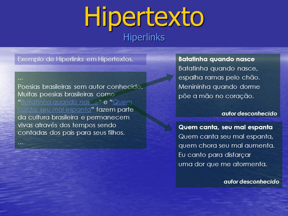 Hipertexto Hiperlinks Batatinha quando nasce Batatinha quando nasce, espalha ramas pelo chão. Menininha quando dorme põe a mão no coração. autor desco