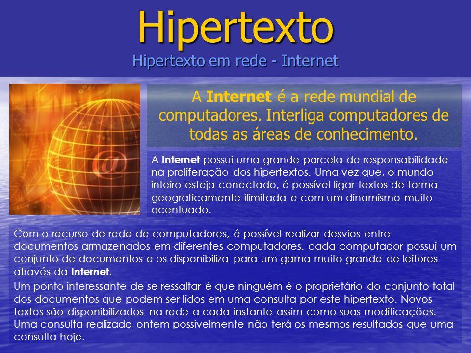 A Internet possui uma grande parcela de responsabilidade na proliferação dos hipertextos. Uma vez que, o mundo inteiro esteja conectado, é possível li