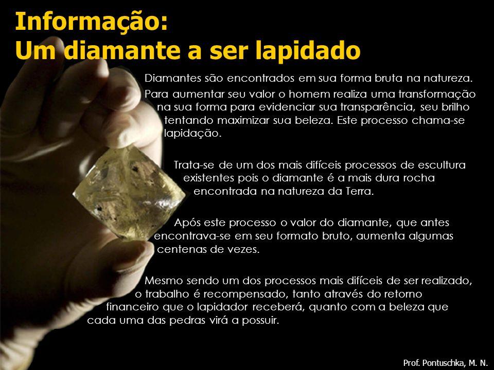 Diamantes são encontrados em sua forma bruta na natureza. Para aumentar seu valor o homem realiza uma transformação na sua forma para evidenciar sua t