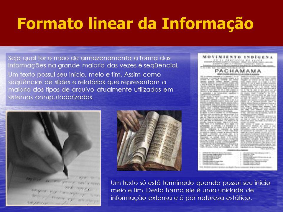 Seja qual for o meio de armazenamento a forma das informações na grande maioria das vezes é seqüencial. Um texto possui seu início, meio e fim. Assim