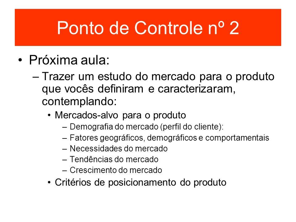 Ponto de Controle nº 2 Próxima aula: –Trazer um estudo do mercado para o produto que vocês definiram e caracterizaram, contemplando: Mercados-alvo par