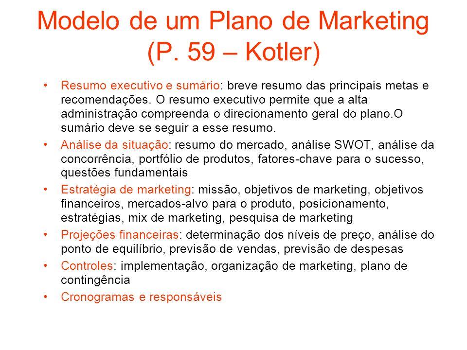 Modelo de um Plano de Marketing (P. 59 – Kotler) Resumo executivo e sumário: breve resumo das principais metas e recomendações. O resumo executivo per