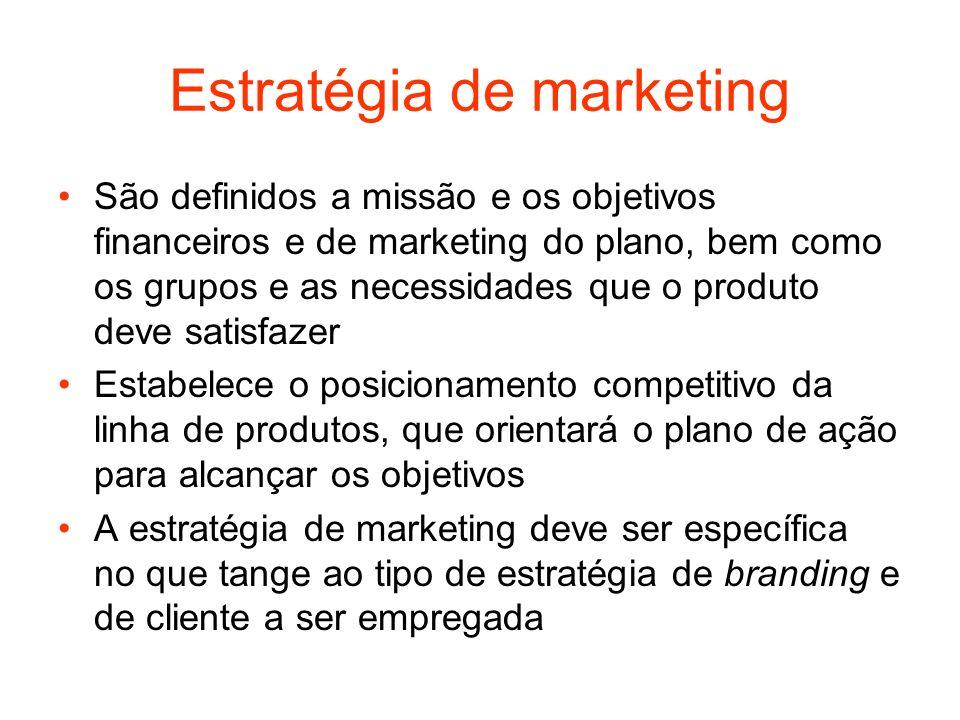 Estratégia de marketing São definidos a missão e os objetivos financeiros e de marketing do plano, bem como os grupos e as necessidades que o produto