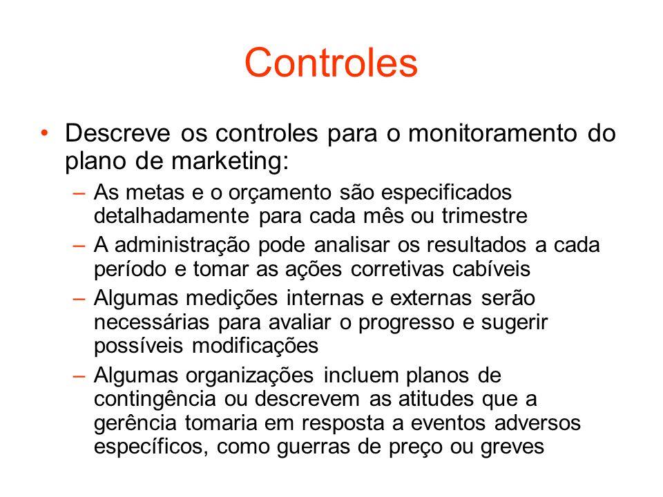 Controles Descreve os controles para o monitoramento do plano de marketing: –As metas e o orçamento são especificados detalhadamente para cada mês ou