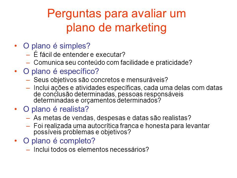 Perguntas para avaliar um plano de marketing O plano é simples? –É fácil de entender e executar? –Comunica seu conteúdo com facilidade e praticidade?