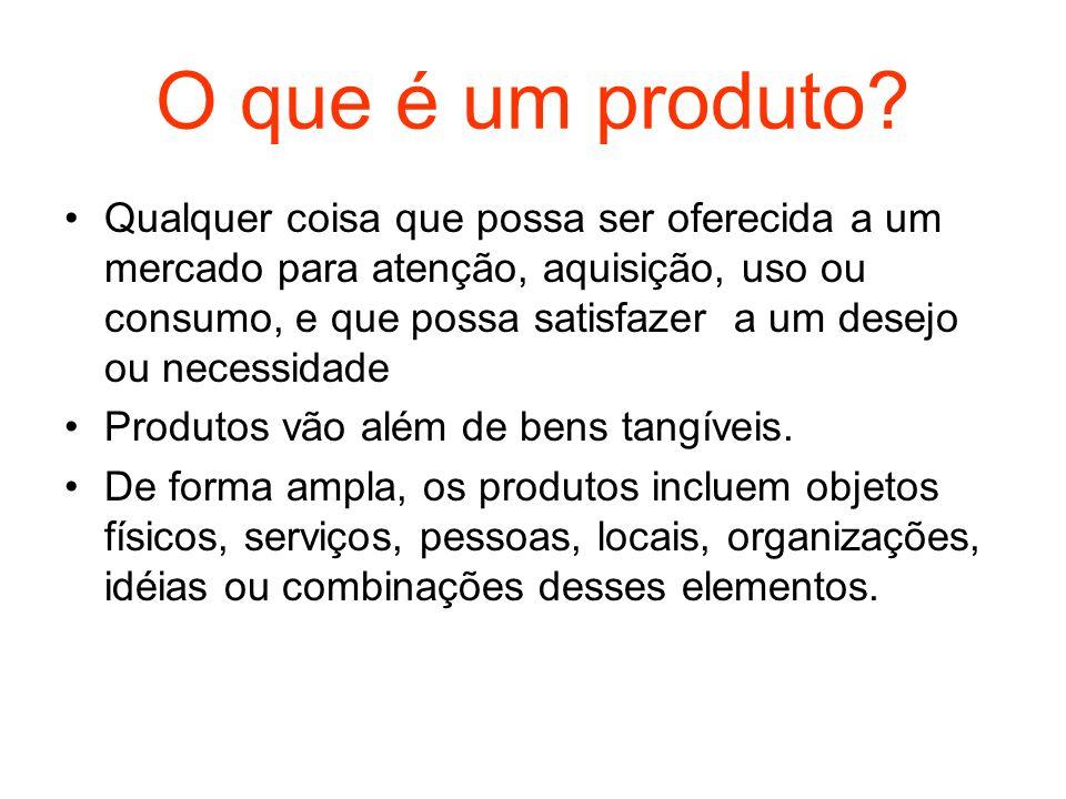 O que é um produto? Qualquer coisa que possa ser oferecida a um mercado para atenção, aquisição, uso ou consumo, e que possa satisfazer a um desejo ou