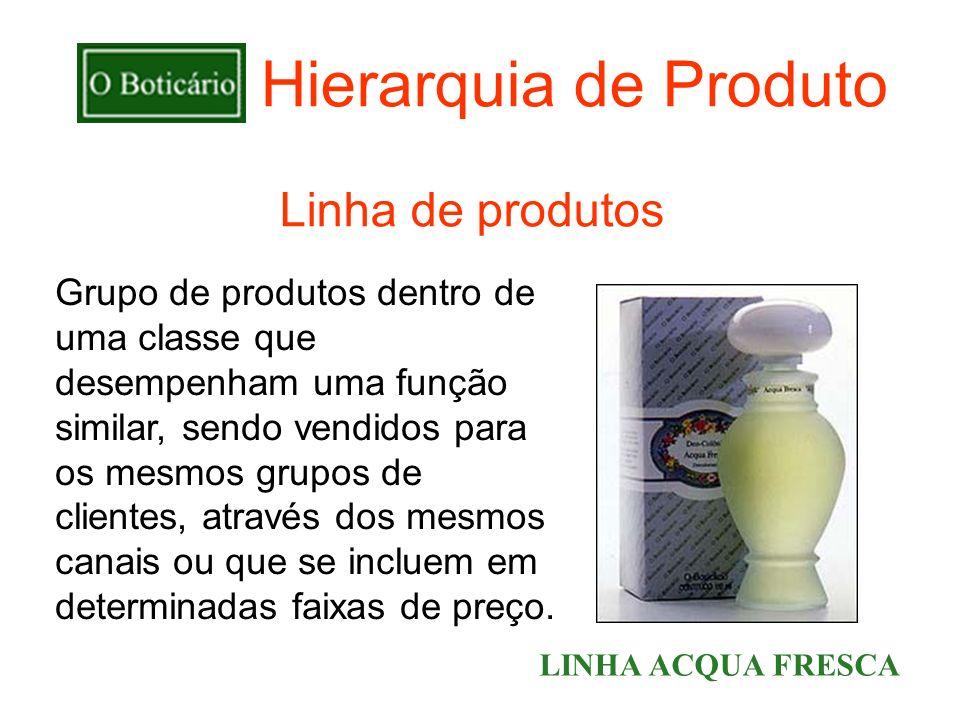 Hierarquia de Produto Grupo de produtos dentro de uma classe que desempenham uma função similar, sendo vendidos para os mesmos grupos de clientes, atr