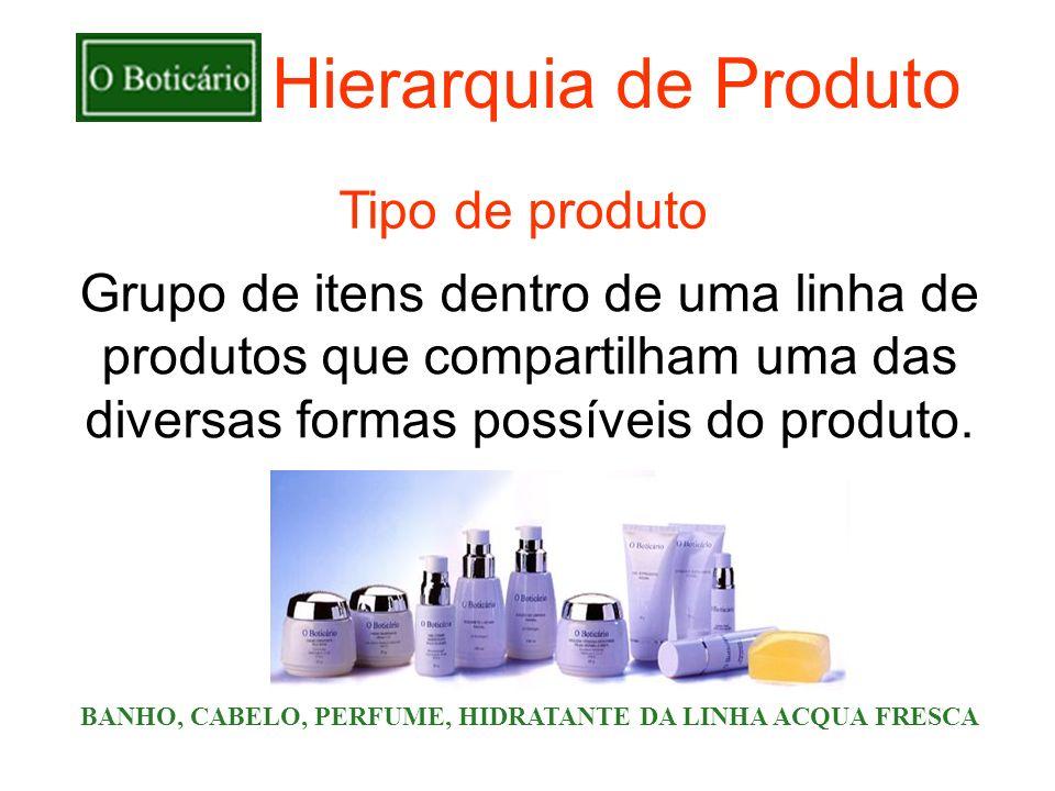 Hierarquia de Produto Grupo de itens dentro de uma linha de produtos que compartilham uma das diversas formas possíveis do produto. BANHO, CABELO, PER