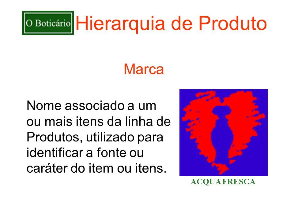 Hierarquia de Produto Nome associado a um ou mais itens da linha de Produtos, utilizado para identificar a fonte ou caráter do item ou itens. ACQUA FR